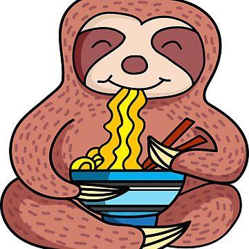 Ramen Life Shirt Ramen Noodle TShirt Kawaii Japanese Anime Sloth eating Asian Ramen Noodles Rising Sun Zen TShirt by Nimon