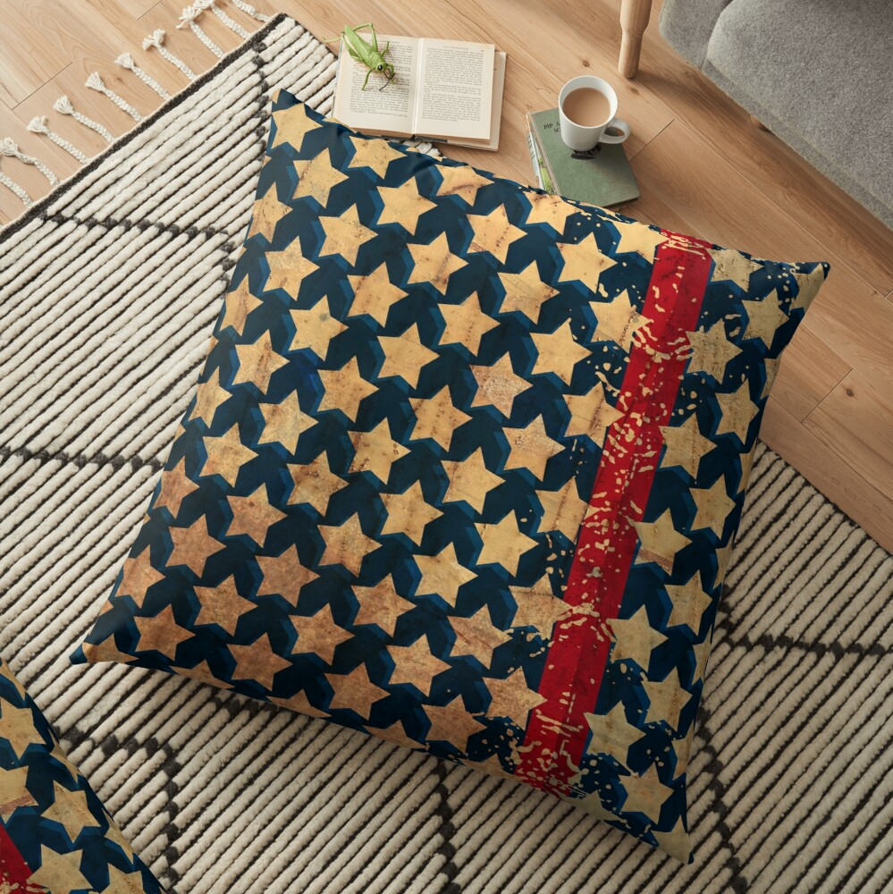 Stars and Stripes Distressed Look Floor Pillow