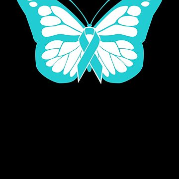 Butterfly - Teal Ribbon Food Allergy Awareness by EMDdesign
