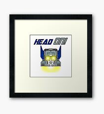 Maximus Headroom HEAD ON! (Blue/Grey) Framed Print