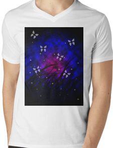 Butterflies at Night Mens V-Neck T-Shirt