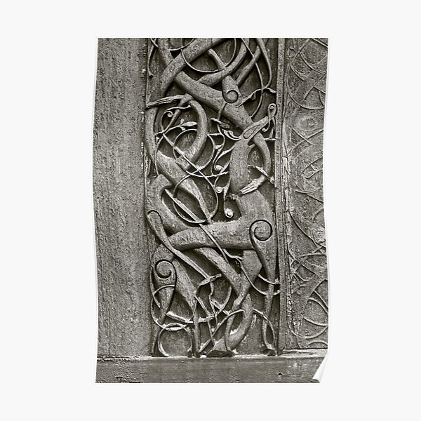 """Viking Age  typical animal-ornamentation, the so called """"Urnes style"""" of animal-art. Urnes Stave Church (Norwegian: Urnes stavkirke).   North portal deatail. by Brown Sugar. Views (186) Favs (2)  Thx! Poster"""