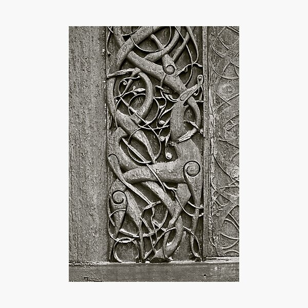 """Viking Age  typical animal-ornamentation, the so called """"Urnes style"""" of animal-art. Urnes Stave Church (Norwegian: Urnes stavkirke).   North portal deatail. by Brown Sugar. Views (186) Favs (2)  Thx! Photographic Print"""