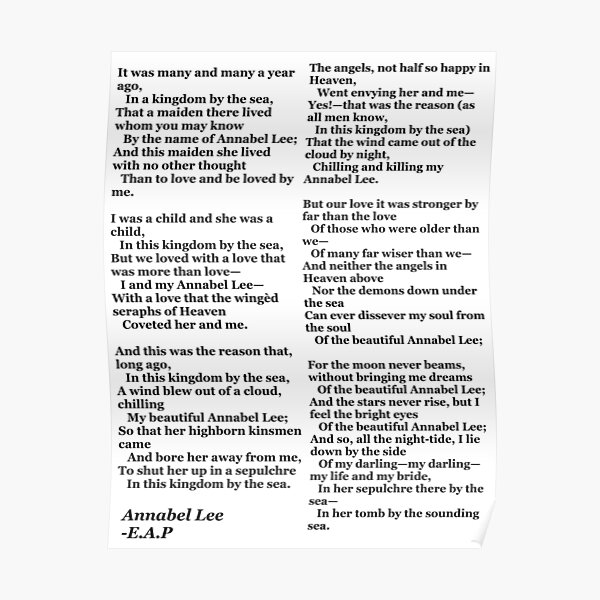 Annabel Lee- Edgar Allan Poe Poster
