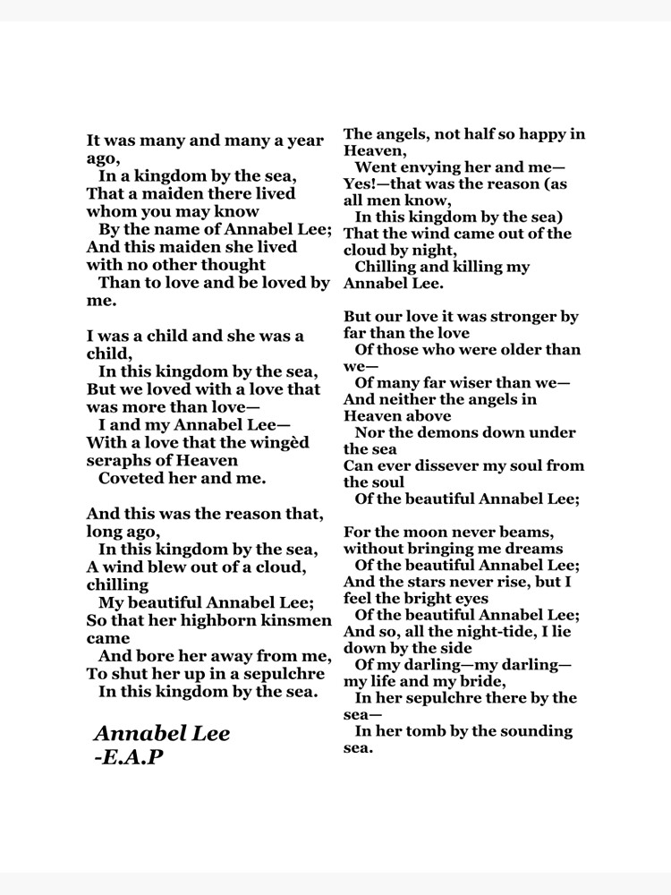 Annabel Lee Edgar Allan Poe Art Board Print By Catherineg22 Redbubble