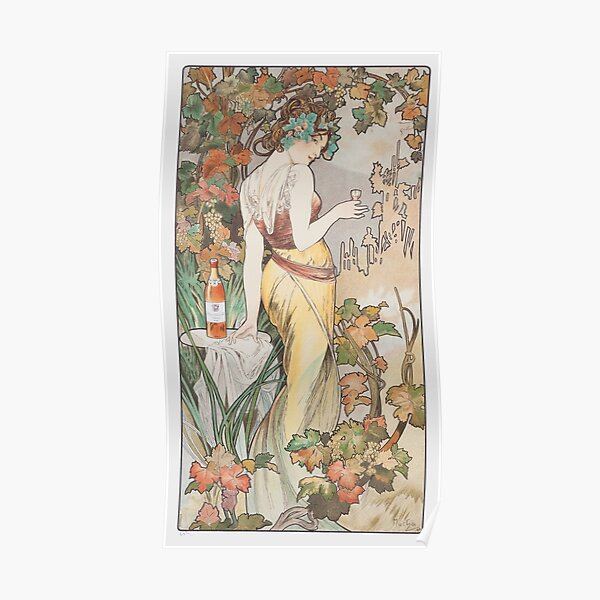 Mucha Cognac Bisquit Advertising Lady Flowers Vintage Poster Repro FREE SHIPPING