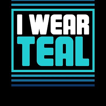 Retro teal Ribbon Food Allergy Awareness by EMDdesign