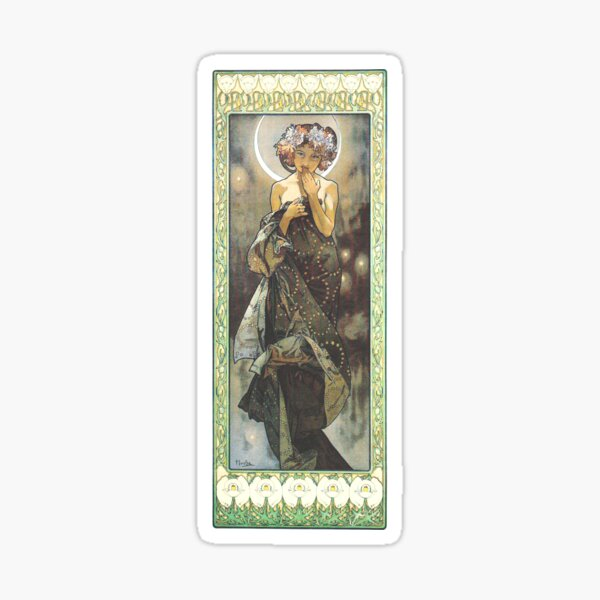 HD. The Moon and the Stars, (number 1 from serie of 4) by Alphonse Mucha (1902) HIGH DEFINITION Sticker