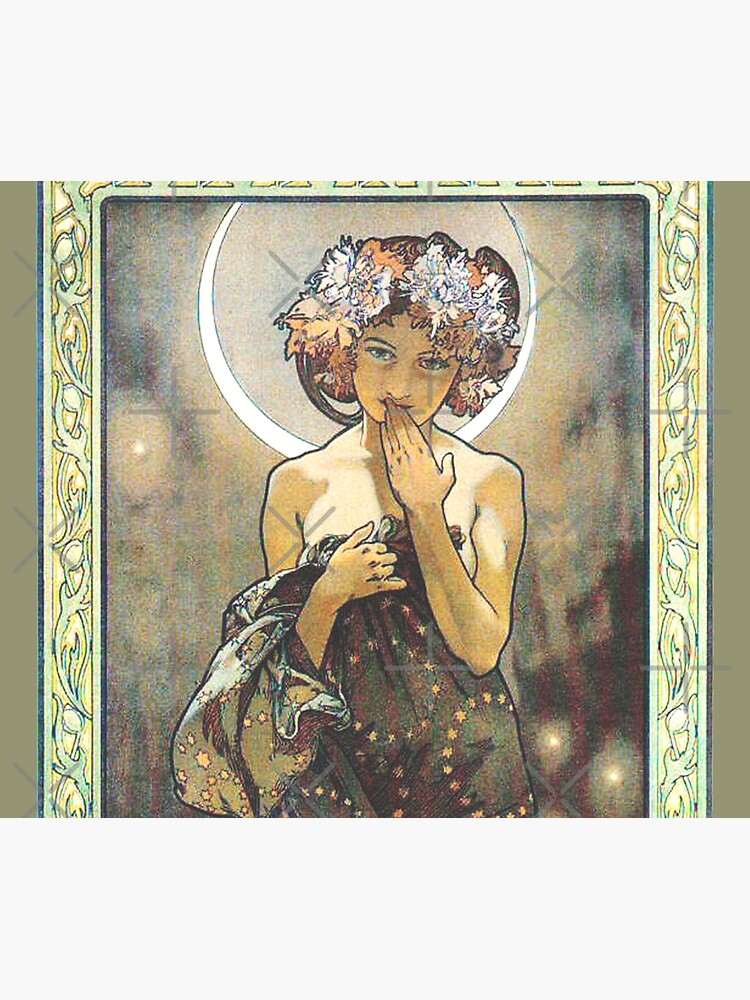 HD. The Moon and the Stars, (number 1 from serie of 4) by Alphonse Mucha (1902) HIGH DEFINITION by mindthecherry