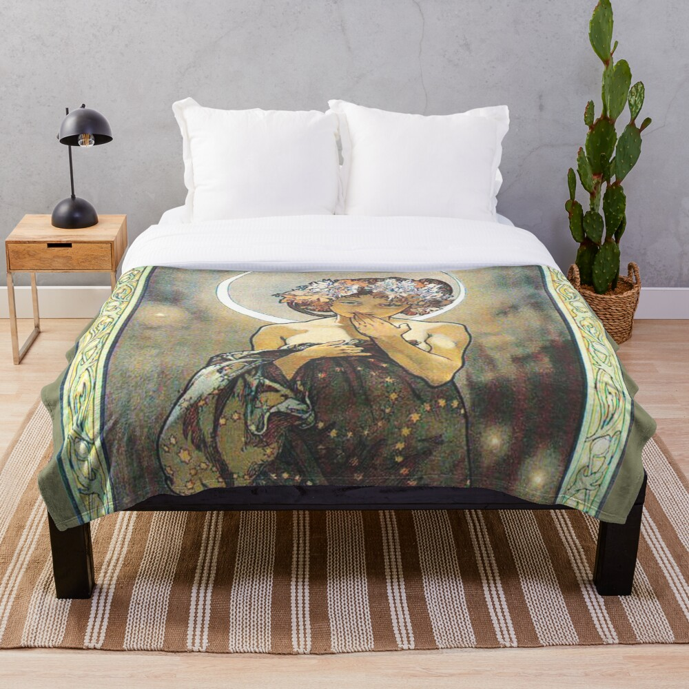 HD. The Moon and the Stars, (number 1 from serie of 4) by Alphonse Mucha (1902) HIGH DEFINITION Throw Blanket