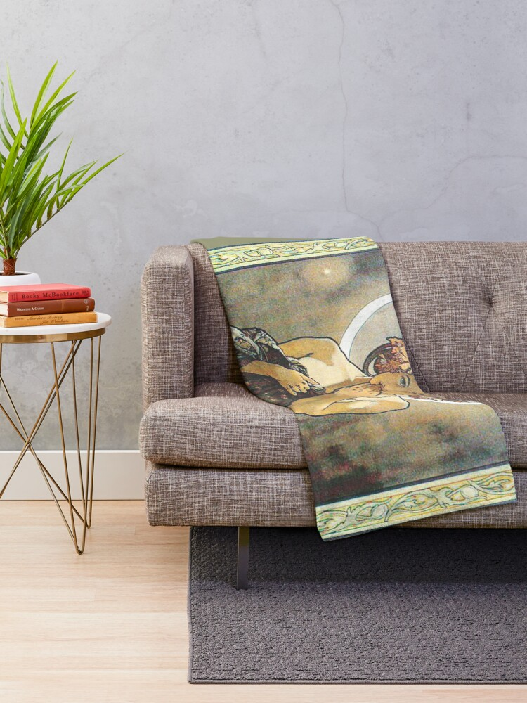 Alternate view of HD. The Moon and the Stars, (number 1 from serie of 4) by Alphonse Mucha (1902) HIGH DEFINITION Throw Blanket