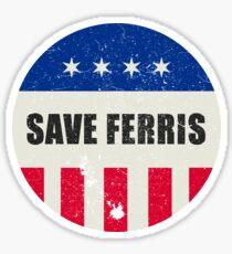 Save Ferris, 80s Distressed Brooch T Shirt, Original Gift Sticker