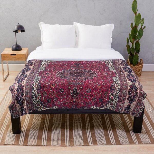 Saber Meshed Persian Carpet Print Throw Blanket