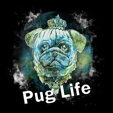 Pug Life Dog watercolor digital Art  by MNA-Art