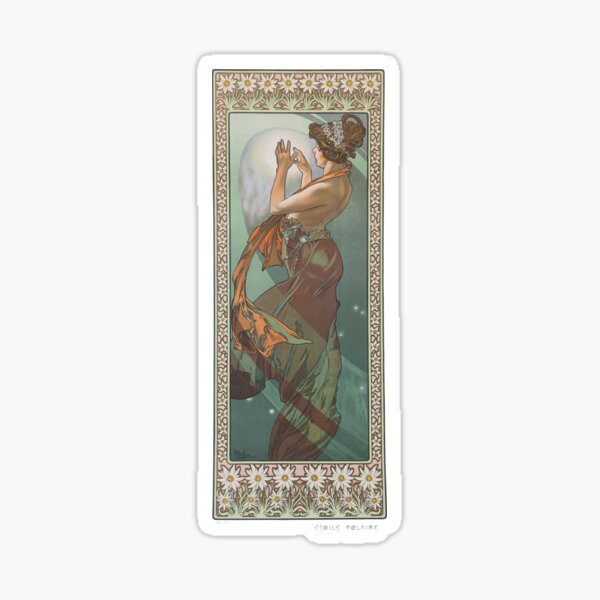 HD. The Moon and the Stars, (number 3 from serie of 4) by Alphonse Mucha (1902) HIGH DEFINITION Sticker
