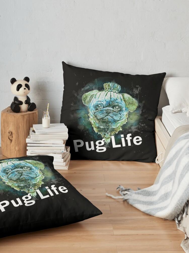 Vista alternativa de Cojines de suelo Pug Life Dog watercolor digital Art