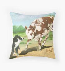 Australian Shepherd Cowdog~ Oil Painting Throw Pillow