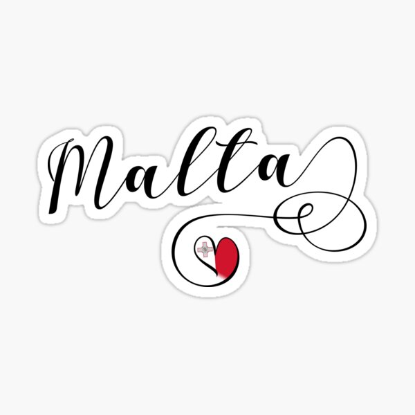 Malta Heart, Malta Flag, I Love Malta Sticker