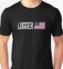 Logger: Logger & American Flag Unisex T-Shirt