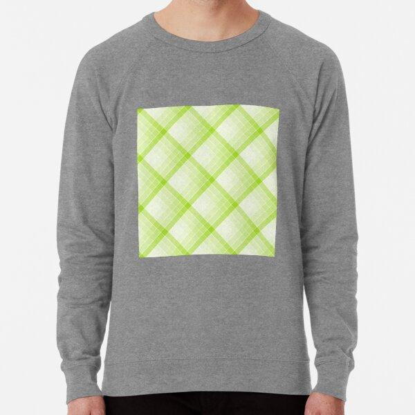 Lime Green Geometric Squares Diagonal Check Tablecloth Lightweight Sweatshirt