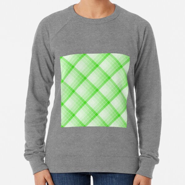 Green Geometric Squares Diagonal Check Tablecloth Lightweight Sweatshirt