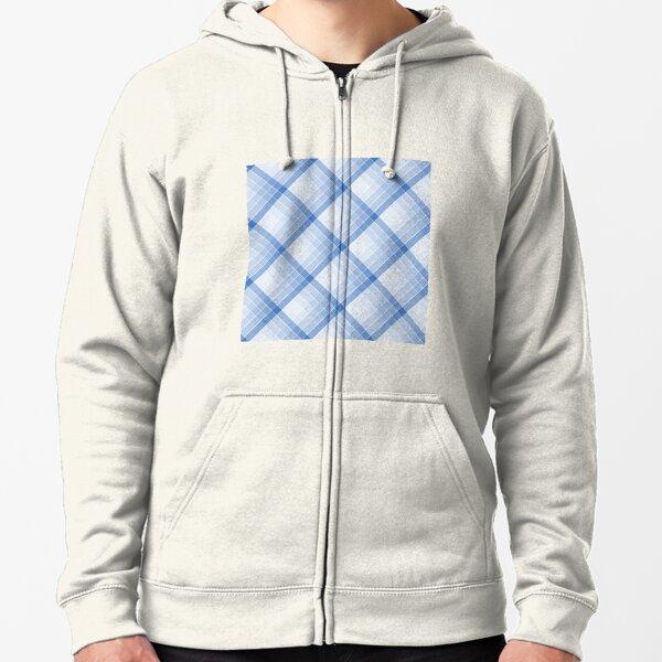 Sky Blue Geometric Squares Diagonal Check Tablecloth Zipped Hoodie