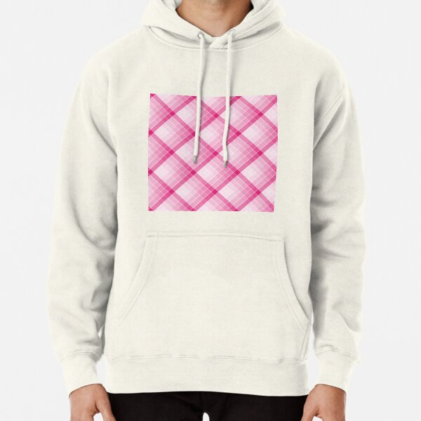 Pink Geometric Squares Diagonal Check Tablecloth Pullover Hoodie