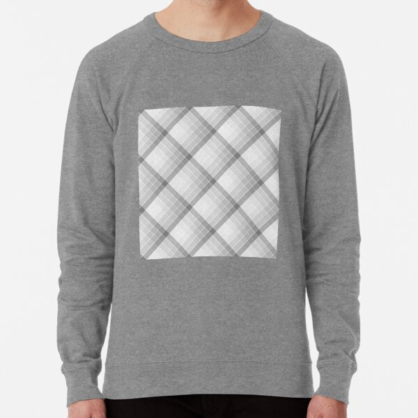 Gray Geometric Squares Diagonal Check Tablecloth Lightweight Sweatshirt