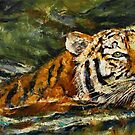 Swimming Tiger by Michael Creese