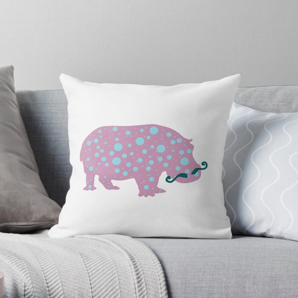 Hippopotamus Moustache  Throw Pillow