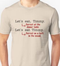 Lustiger Interpunktions-Grammatik-Spaß Unisex T-Shirt