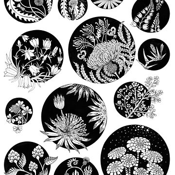 Flowers pattern ink art Black and White by Ruta