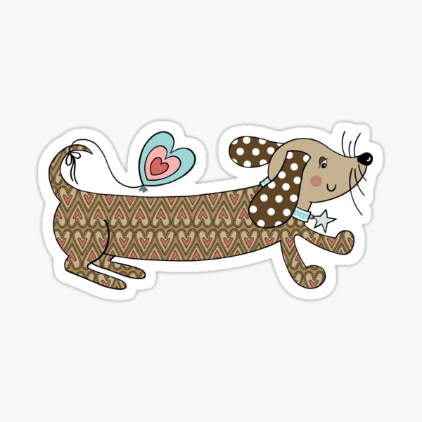 Dachshund, Sausage Dog, Dachsie, Doxie Pattern 1 Sticker
