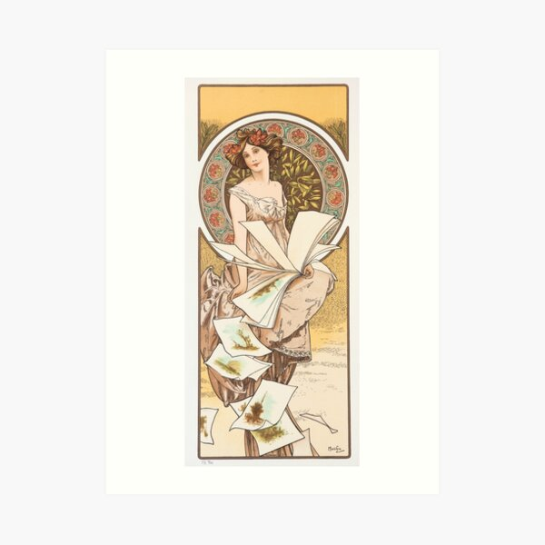 HD. Champenois Calendar, Alphonse Mucha HIGH DEFINITION (original colors) Art Print