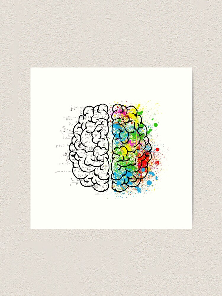 Alternate view of brain logic creative cool psychology colorful Art Print
