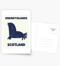 Orkney Islands, Scotland travel poster. Postcards