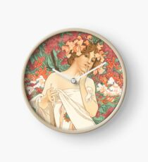 HD. Sylvanis Essence, by Alphonse Mucha HIGH DEFINITION (original colors) Clock