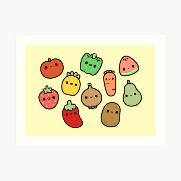 Cute fruit and veg Art Print