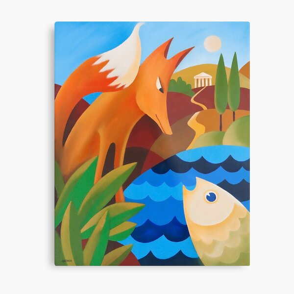 THE FOX AND THE FISH Metal Print