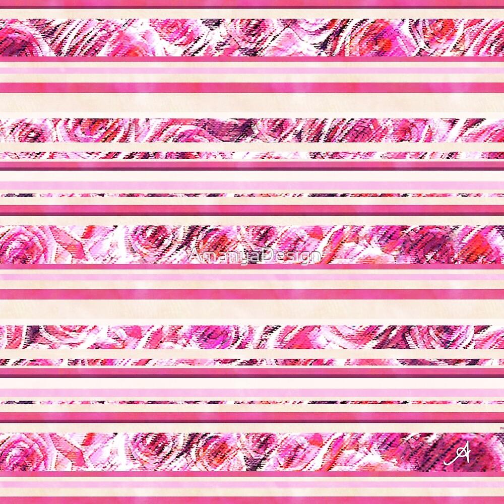 « Roses texturées à rayures rose Amanya Design » par AmanyaDesign