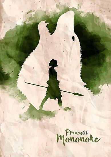 Princess Mononoke Watercolor Minimalist Art by TopTeesShop
