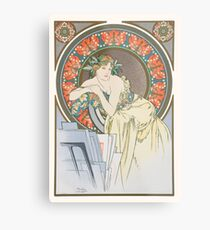 HD. Woman with Poppies, by Alphonse Mucha (1898) HIGH DEFINITION (Original colors) Metal Print