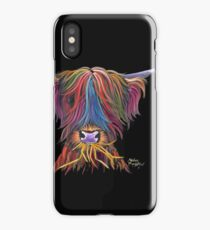 Scottish Hairy Highland Cow PriNT ' MUNCH MUNCH ' by Shirley MacArthur iPhone Case