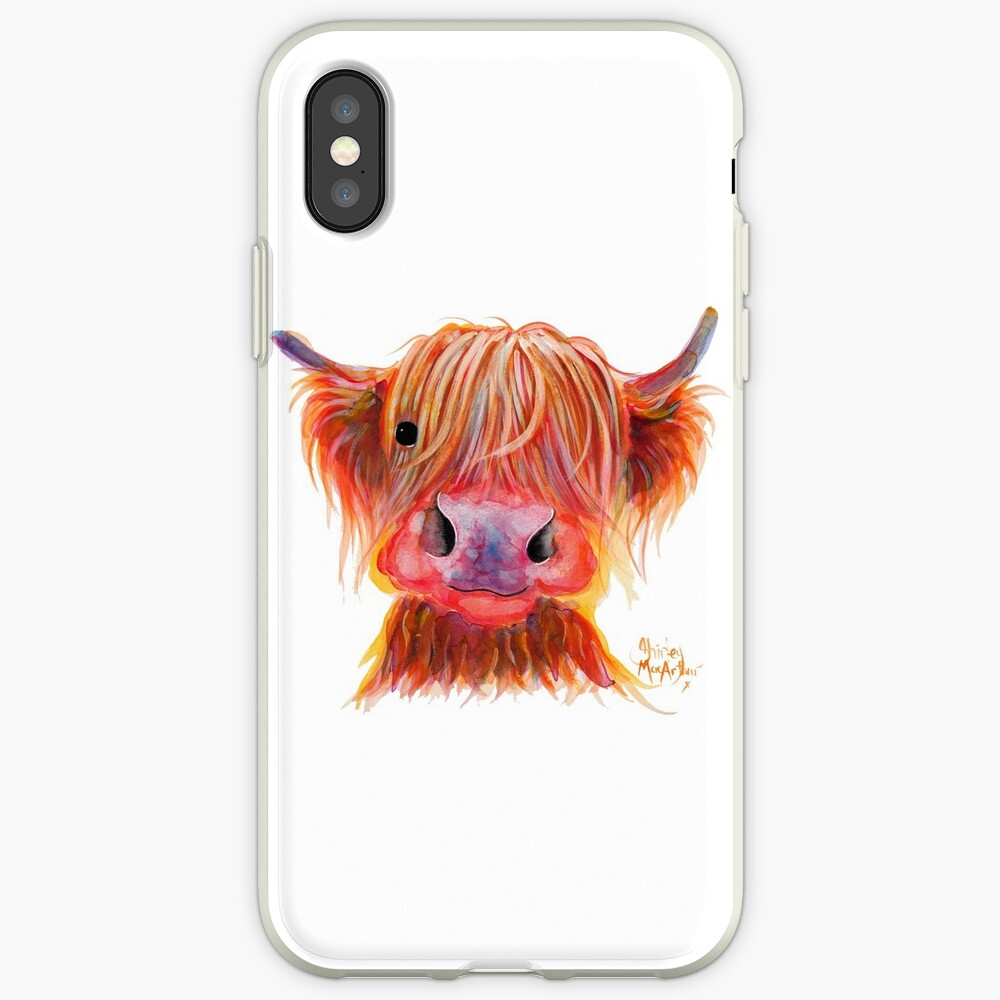 Scottish Highland Hairy Cow ' CHILLI CHOPS ' by Shirley MacArthur iPhone Case & Cover