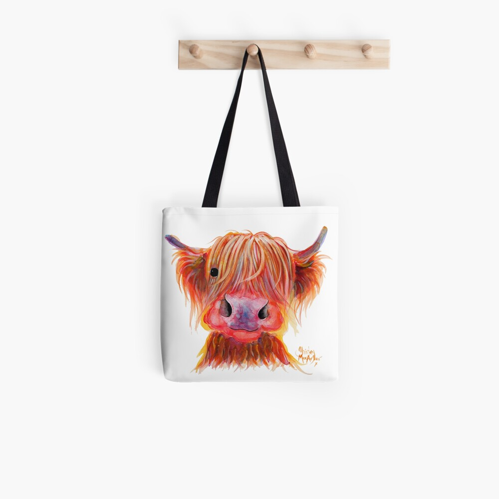 Scottish Highland Hairy Cow ' CHILLI CHOPS ' by Shirley MacArthur Tote Bag