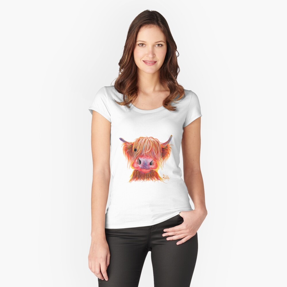 Scottish Highland Hairy Cow ' CHILLI CHOPS ' by Shirley MacArthur Fitted Scoop T-Shirt