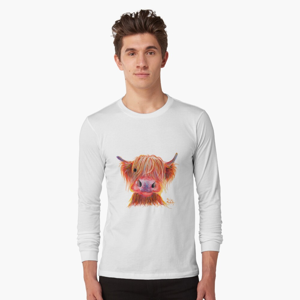 Scottish Highland Hairy Cow ' CHILLI CHOPS ' by Shirley MacArthur Long Sleeve T-Shirt