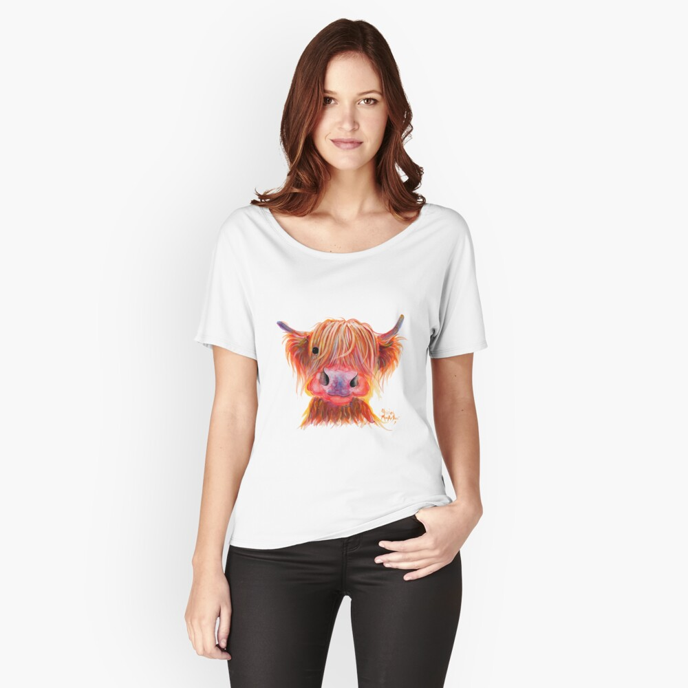 Scottish Highland Hairy Cow ' CHILLI CHOPS ' by Shirley MacArthur Relaxed Fit T-Shirt