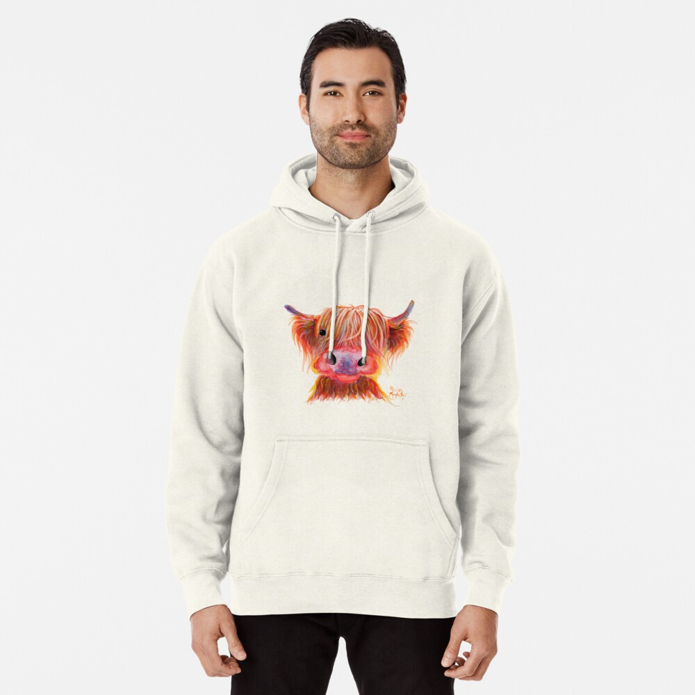 Scottish Highland Hairy Cow ' CHILLI CHOPS ' by Shirley MacArthur Pullover Hoodie