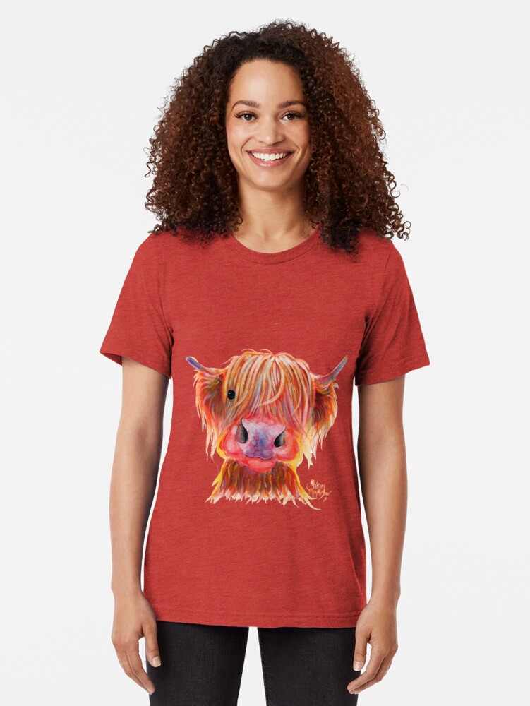 Alternate view of Scottish Highland Hairy Cow ' CHILLI CHOPS ' by Shirley MacArthur Tri-blend T-Shirt